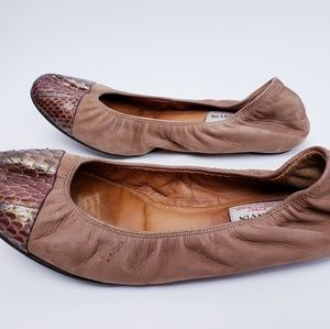 Lanvin Shoes - LANVIN VINTAGE Lamb Ballet Shoes Tan Snake Skin